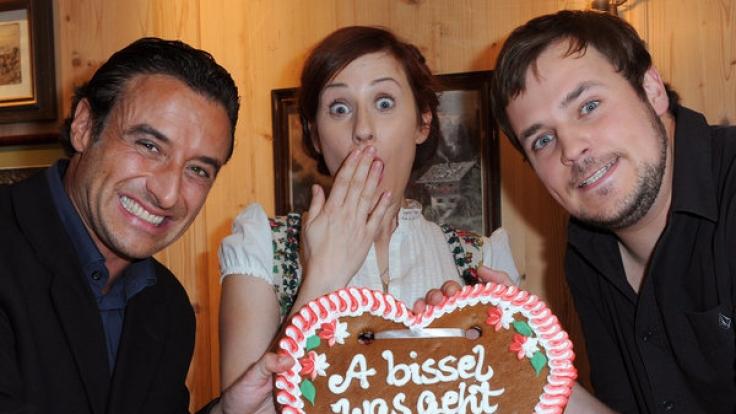 Frederic Linkemann (r.) spielte 2012 gemeinsam mit Gunther Gillian (l.) und Marlene Morreis in der ZDF-Serie