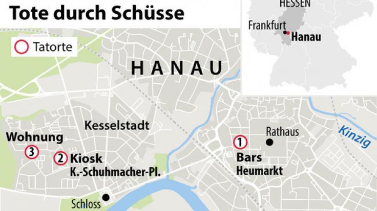 Das sind die Tatorte in Hanau
