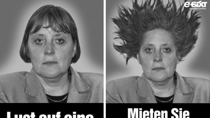 Angela Merkel reagierte auf diese Werbung sehr gelassen. Sixt solle sie doch mal auf eine Cabrio-Fahrt einladen war ihr selbstironischer Kommentar. (Foto)