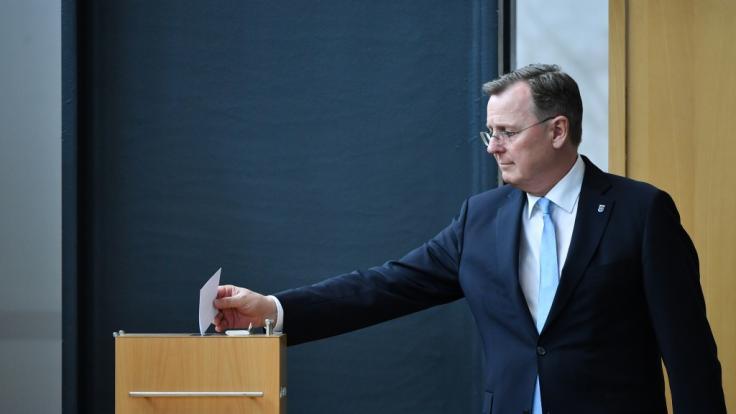 Bei der Ministerpräsidentenwahl in Thüringen verfehlte Bodo Ramelow (Die Linke) im ersten Wahlgang die absolute Mehrheit. (Foto)