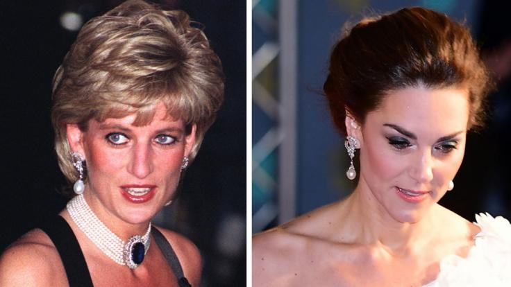 Mit einer ganz besonderen Hommage an Prinzessin Diana ehrte Herzogin Kate die verstorbene Lady Di.Beide tragen das gleiche Paar Ohrringe.