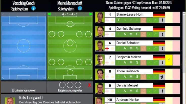 So sieht die Homepage des FC Inter Dragon aus, auf der die Fans über Aufstellung und Taktik abstimmen können. (Foto)