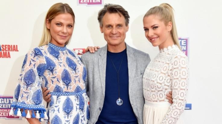Cheyenne Pahde mit den GZSZ-Schauspieler Wolfgang Bahro und Schwester Valentina Pahde (von links).