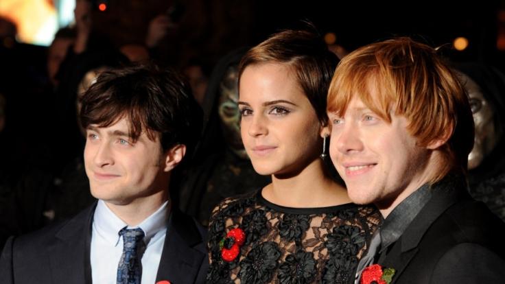 Daniel Radcliffe, Emma Watson und Rupert Grint.