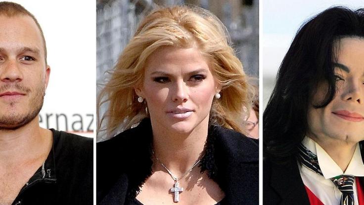 Kamen nicht von den Medikamenten los: Heath Ledger, Anna Nicole Smith und Michael Jackson. (Foto)