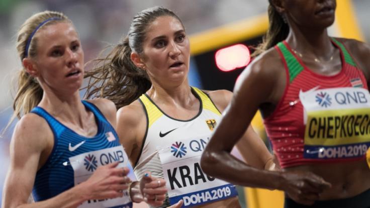 Gesa Felicitas Krause bei der Leichtathletik-WM 2019 in Doha/Katar. (Foto)