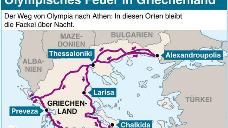 Die Route der Fackel in Griechenland. (Foto)