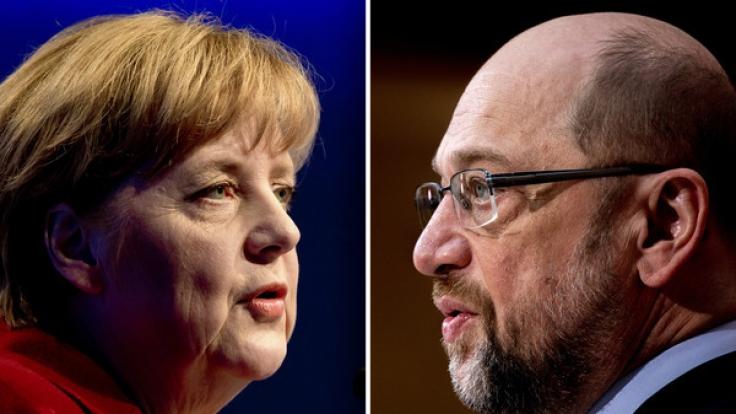 Am Sonntag steigt das große TV-Duell zwischen Angela Merkel und Herausforderer Martin Schulz. (Foto)