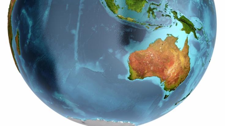 Australien auf dem Globus - doch gibt es den fünften Kontinent in Wirklichkeit gar nicht?