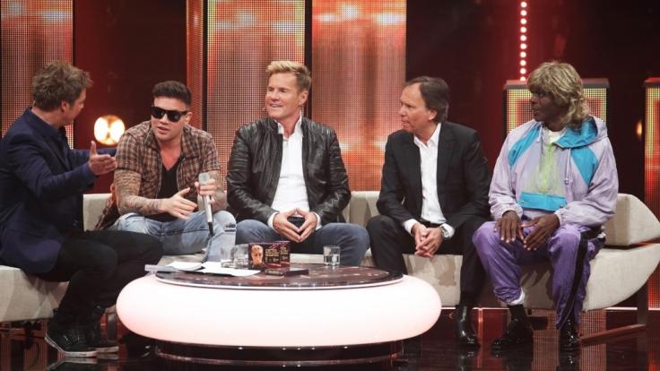 Kay One (2. v.l.) mit Moderator Oliver Geissen, Dieter Bohlen, André Selleneit und Bruce Darnell.
