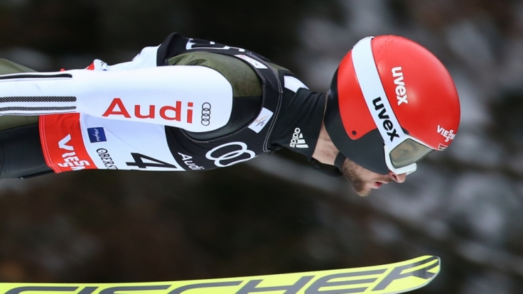Markus Eisenbichler aus Deutschland fliegt bei der Skiflug-Weltmeisterschaft in Oberstdorf (Bayern) im ersten Training von der Heini-Klopfer-Schanze.