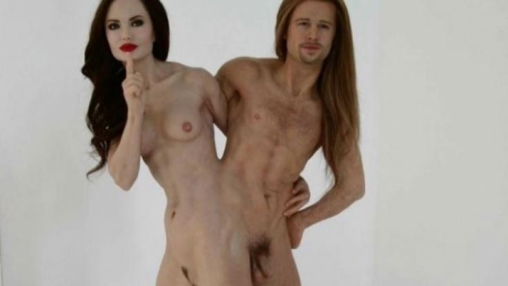 Brad Pitt und Angelina Jolie werden von dem Wachs-Künstler in der Mitte zusammengewachsen dargestellt.