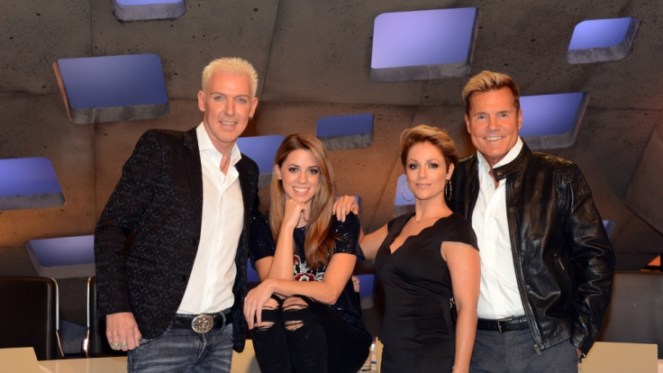 Die neue DSDS-Jury (von links): H.P. Baxxter, Vanessa Mai, Michelle und Dieter Bohlen. (Foto)