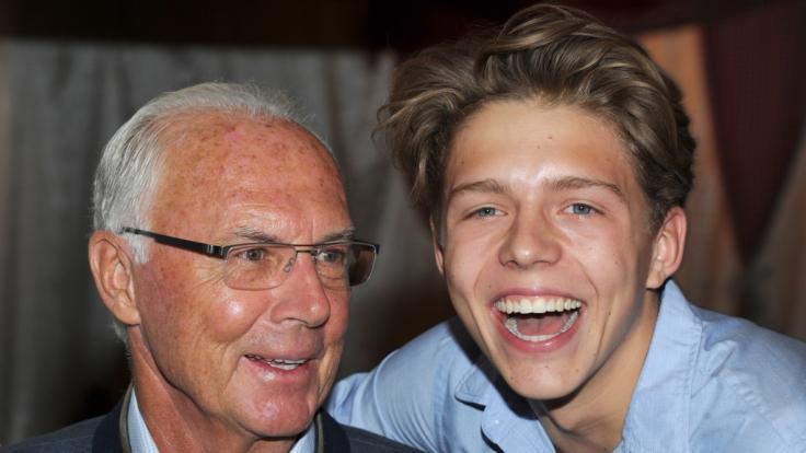 Franz Beckenbauer und sein Sohn Joel im Jahr 2016. (Foto)
