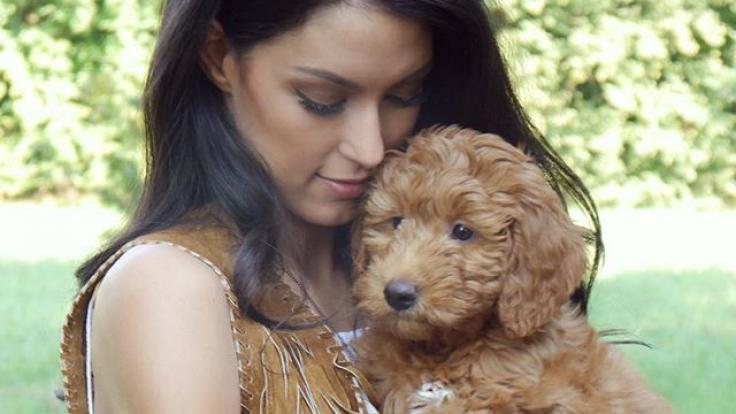 """Dieser süße Welpe ist das neue """"Baby"""" des Models. Sie und ihr Mann Massimo wollen mit dem Hund auch für spätere eigene Kinder üben. (Foto)"""