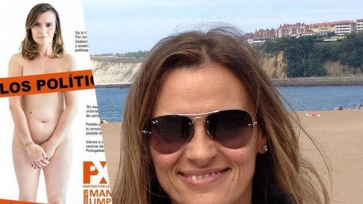 Yolanda Couceiro Morin aus Spanien zeigt sich auf einem Wahlplakat komplett nackt.
