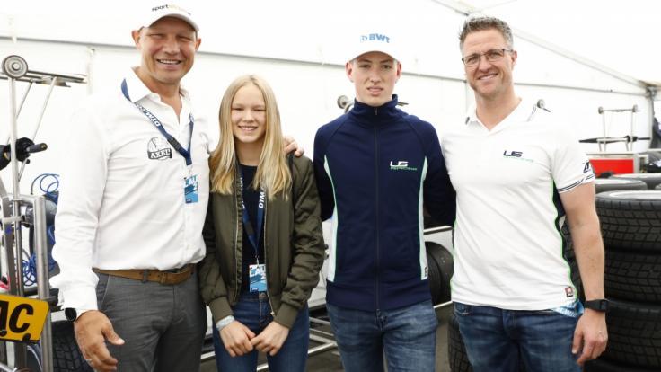 David Schumacher - hier mit seinem Vater Ralf Schumacher sowie Box-Legende Axel Schulz nebst Tochter Pauline - peilt eine Karriere in der Formel 3 an und führt damit die Familientradition fort.