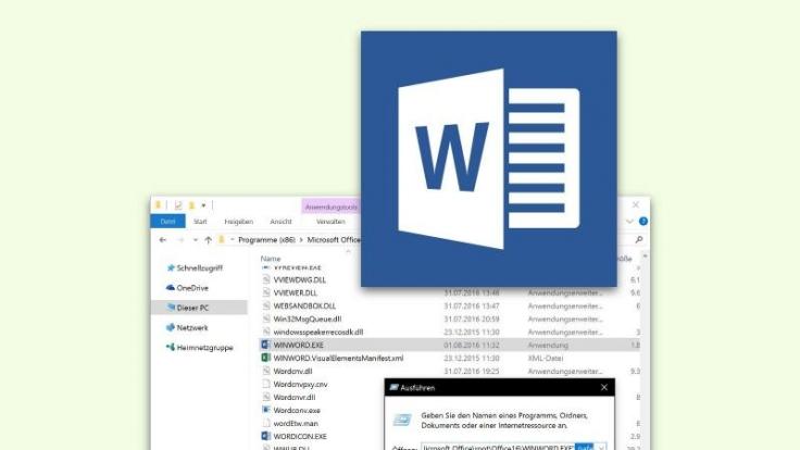 """Wenn Word beim Starten Probleme macht, nutzen Betroffene am besten den Abgesicherten Modus und ziehen die Datei """"winword.exe"""" in das Text-Feld. (Foto)"""