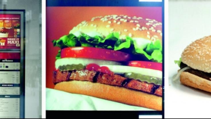 Der echte Burger hat mit dem Produktbild wenig zu tun.