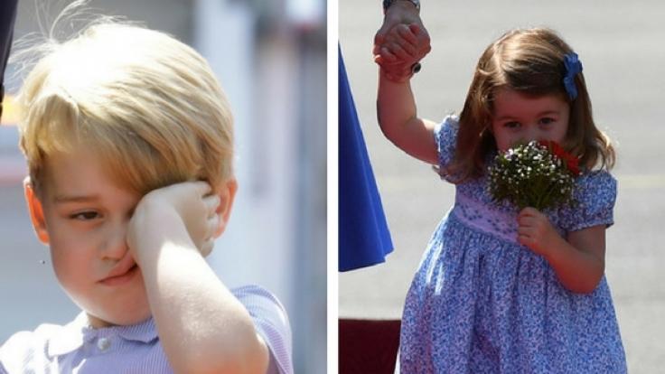 Prinz George und Prinzessin Charlotte bei der Ankunft in Berlin.