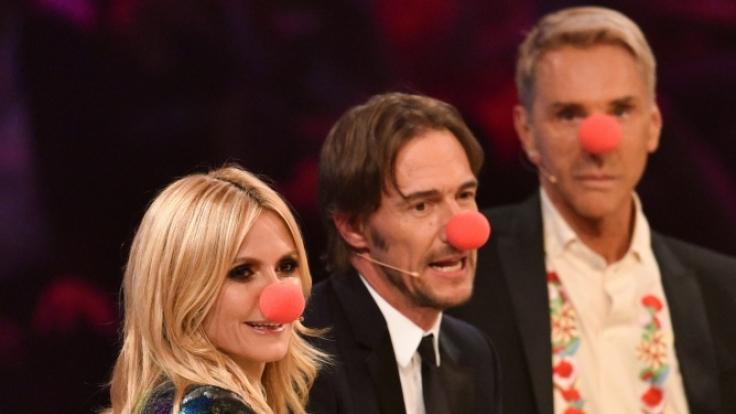 """Heidi Klum, Thomas Hayo und Wolfgang Joop (v.r.) beim Finale von """"Germany's Next Topmodel"""" in Köln. (Foto)"""