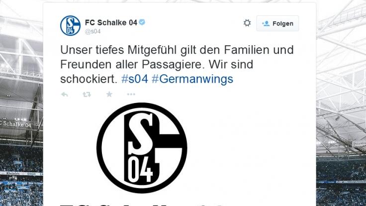 Auch der FC Schalke 04 äußerte sich auf Twitter zum Flugzeugabsturz in Südfrankreich.