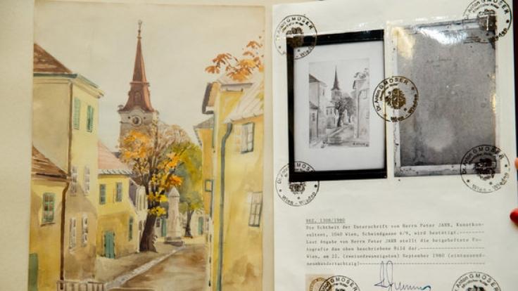 """Das Aquarell """"Stadtansicht Gumpoldskirchen"""" (von 1903), das Adolf Hitler zugeschrieben wird. (Foto)"""