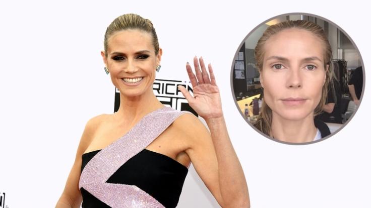 Heidi Klum mal mit und mal ohne Make-up. (Foto)
