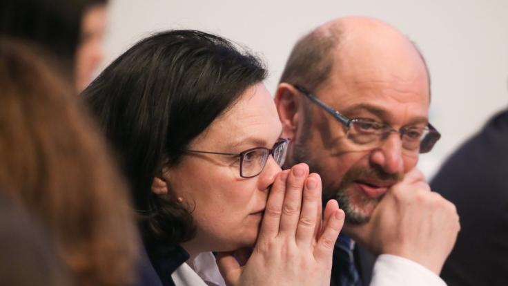 Andrea Nahles und Martin Schulz auf dem SPD-Sonderparteitag in Bonn am 21. Januar 2018.