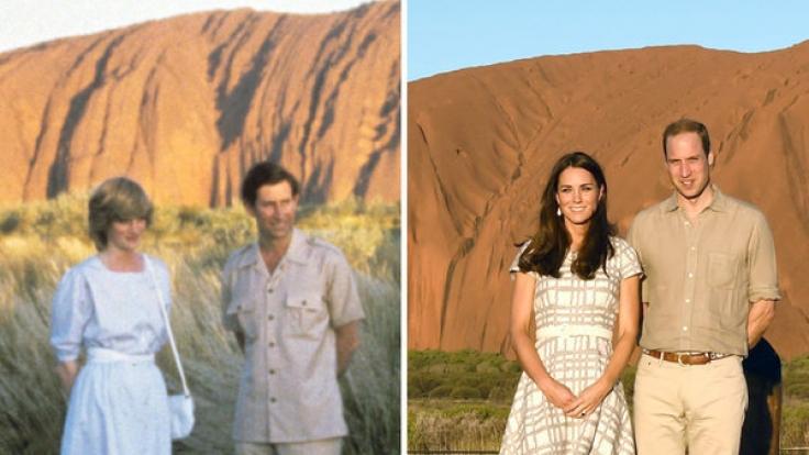 Prinz Charles und Prinzessin Diana (links, am 21.03.1983) sowie Herzogin Kate und Prinz William (rechts, am 22.04.2014) vor Ayers Rock, den Heiligen Berg der australischen Ureinwohner. (Foto)