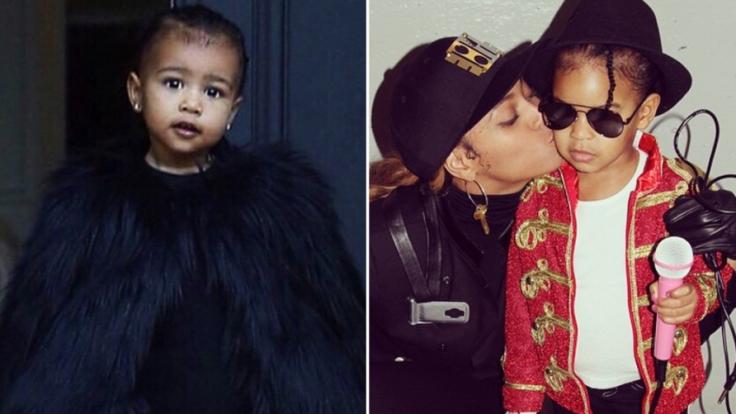 Das Schicksal der Promi-Kinder von Kim Kardashia und Beyoncé: North West im Pelz-Cape, Blue Ivy als Michael Jackson.