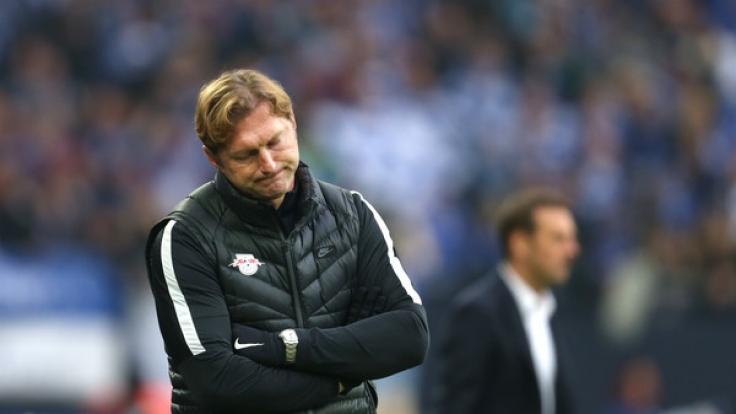 Leipzig-Coach Ralph Hasenhüttl beim Bundesligaspiel FC Schalke 04 gegen RB Leipzig am 23. April in Gelsenkirchen. (Foto)