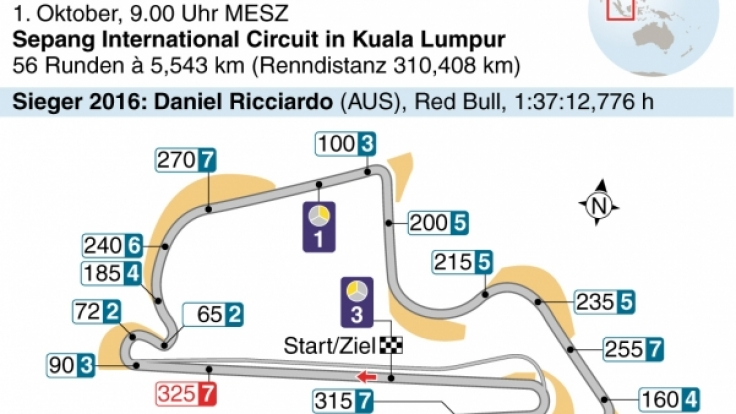 Streckenverlauf beim Großen Preis von Malaysia.