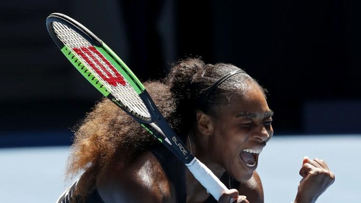 Serena Williams aus den USA jubelt nach ihrem Sieg über Konta aus Großbritannien.