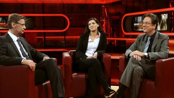 Jörg Kachelmann (rechts) und seine Ehefrau Miriam in der Talkshow von Günther Jauch.