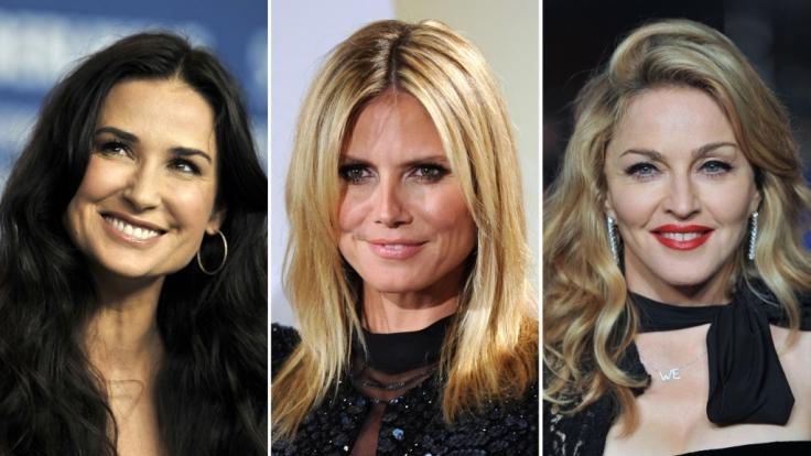 Nach Demi Moore (links) ist auch Heidi Klum (Mitte) auf den Geschmack von Vito Schnabel gekommen. Madonna kennt sich mit jüngerem Gemüse ebenfalls aus.