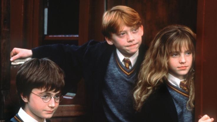 Die Zauberlehrlinge Harry Potter (Daniel Radcliffe, li.), Ron Weasley (Rupert Grint) und Hermine Granger (Emma Watson). (Foto)