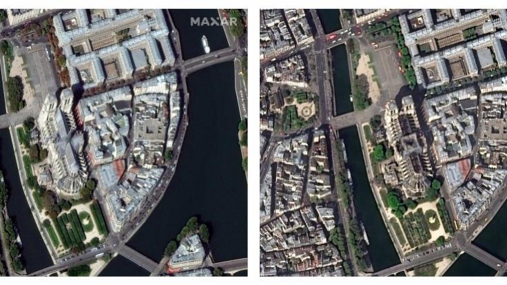 Diese von DigitalGlobe, einem Maxar-Unternehmen, zur Verfügung gestellte Bildkombo aus Satellitenbildern zeigt die Kathedrale Notre-Dame am 02.09.2018 (l) vor und am 17.04.2019 nach dem verheerenden Brand.