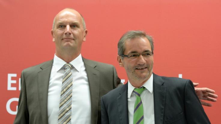 Dietmar Woidtke (links) mit seinem Vorgänger Matthias Platzeck (rechts) über die Koalition in Brandenburg.
