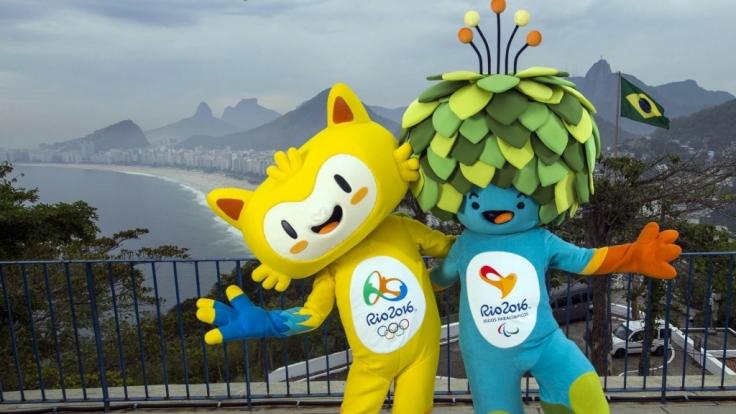 """""""Vinicius"""" und """"Tom"""" sind die Olympia-Maskottchen in Rio 2016. (Foto)"""