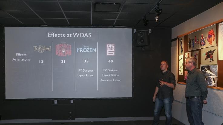 Eine Übersicht zeigt, wie die Anzahl der für die Effekte zuständigen Grafiker während verschiedener Disney Animationsfilme gestiegen ist. (Foto)