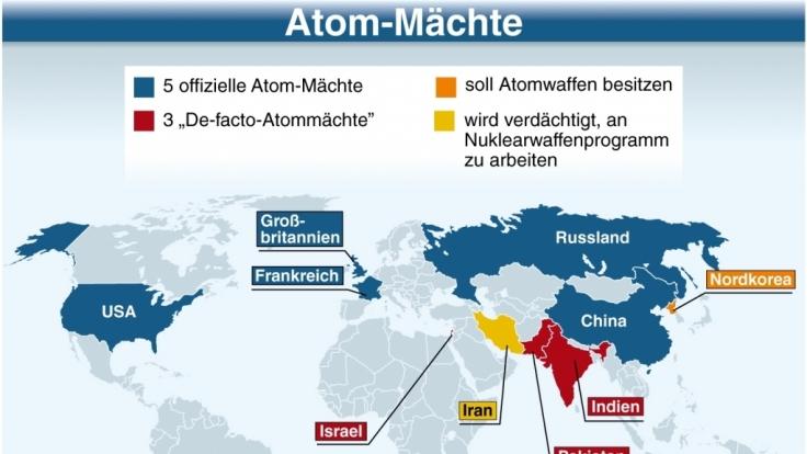 Zu den Unterzeichnern des Atomwaffensperrprogramms zählen neben den USA Russland, Frankreich, China und Großbritannien.