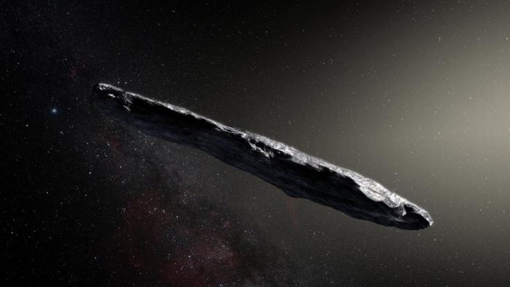 Diese künstlerische Darstellung zeigt den Asteroiden 1I/2017 U1