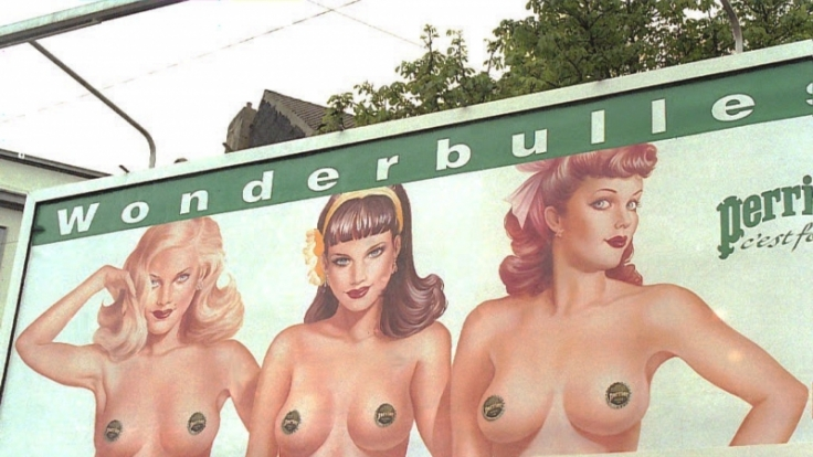 Die Brustwarze, das letzte Tabu? Diese Werbung für Mineralwasser brachte 2004 französische Frauenrechtlerinnen auf die Palme.