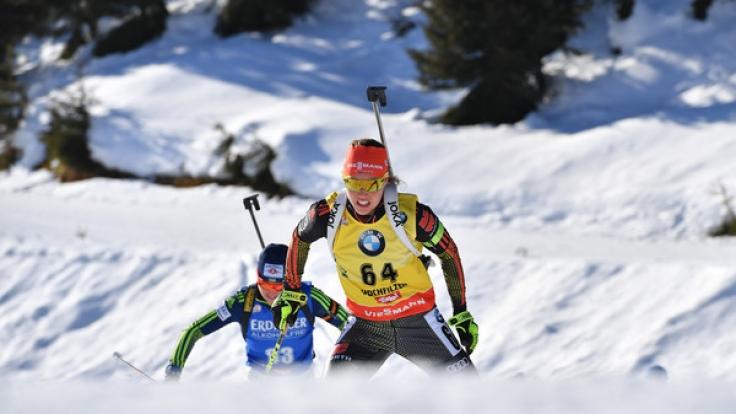 Laura Dahlmeier aus Deutschland bei der Biathlon-Weltmeisterschaft im Sprint über 7,5 km am 10. Februar in Hochfilzen.