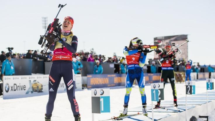 Die Biathlon-Damen müssen noch drei Mal an den Start ehe es in die wohlverdiente Pause geht.