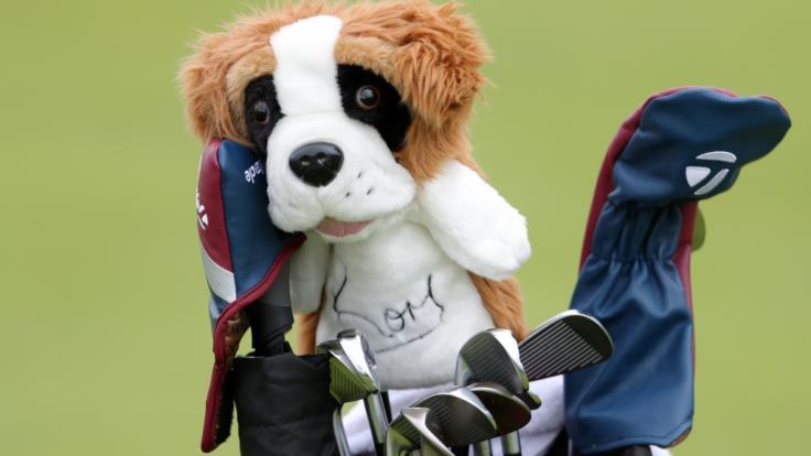 Die Kappen zum Schutz der Golfschläger des britischen Spielers McIlroy sind vor dem Beginn der British Open bereits in Bestform.