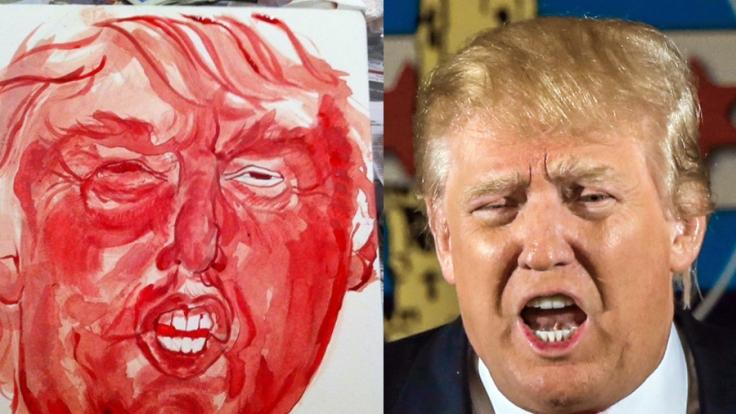 Ähnlichkeit zwischen Portrait und Original kann man tatsächlich erkennen. Was Donald Trump wohl zu seinem Portrait sagen würde? (Foto)