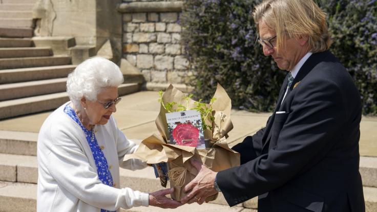 Queen Elizabeth II., erhält von Keith Weed, Vorsitzender der Royal Horticultural Society, auf Schloss Windsor eine Duke of Edinburgh-Rose. (Foto)