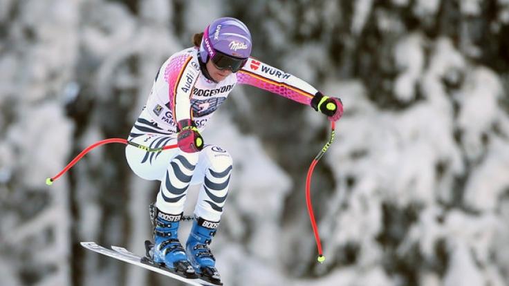 Viktoria Rebensburg aus Deutschland fährt am 20.01.2017 im zweiten Abfahrtstraining der Damen in Garmisch-Partenkirchen (Bayern) und belegte Platz 10.